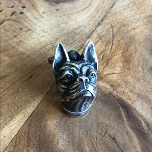 Antique Victorian Sterling Bulldog Pendant Pull SS